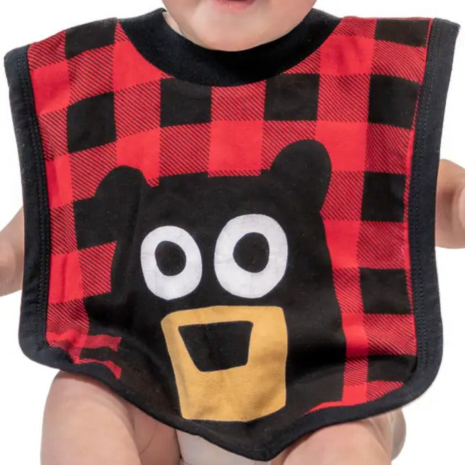 Lazy One Bear Plaid Infant Bib