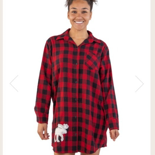 Lazy One Flannel Moose Plaid Night Shirt
