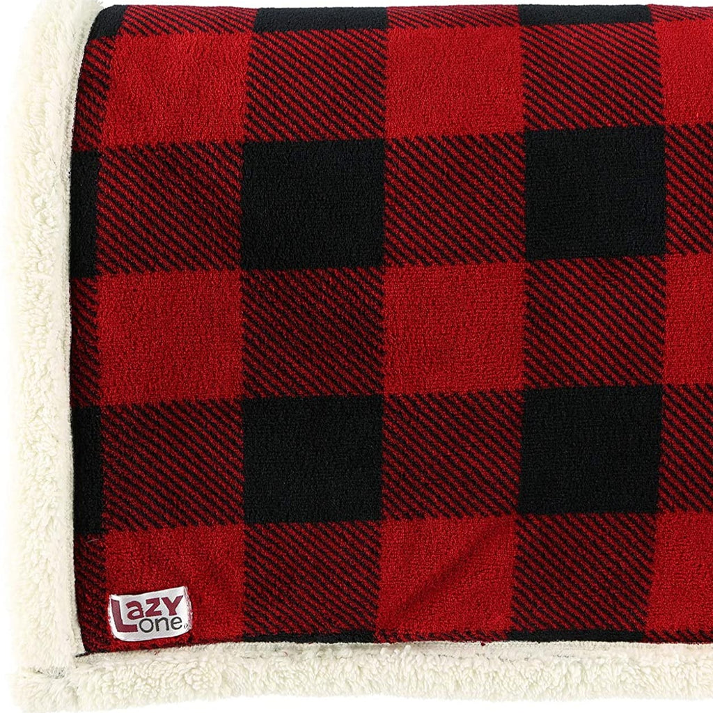 Red Plaid Sherpa Throw Blanket