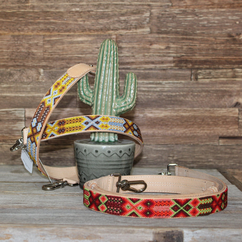 Vaqueta Friendship Bracelet Wide Crossbody Strap Natural Leather