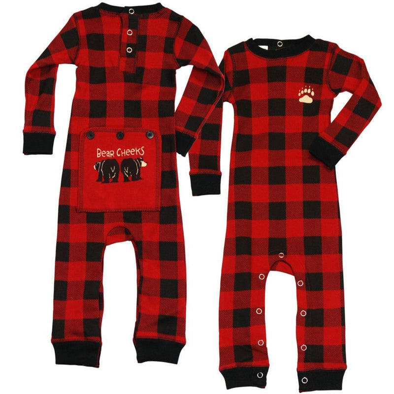 Lazy One Bear Cheek Plaid Infant Flapjack