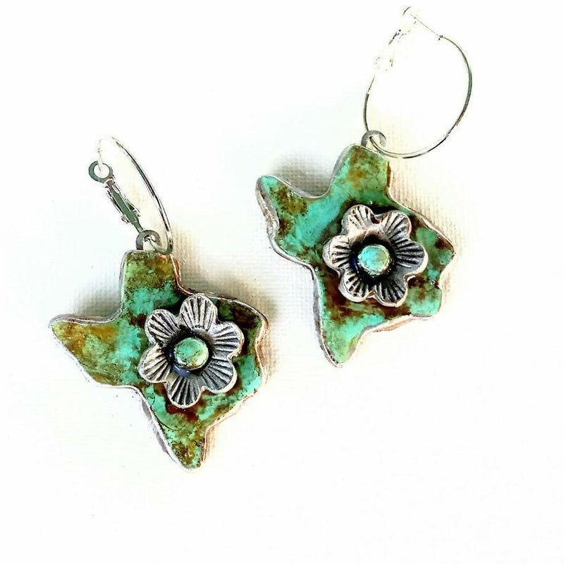 Texas on Hoop Distressed Turquoise  Earring