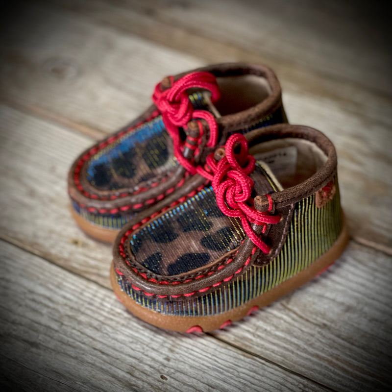 Infant Chukka Driving Moc Shiny Leopard/Red
