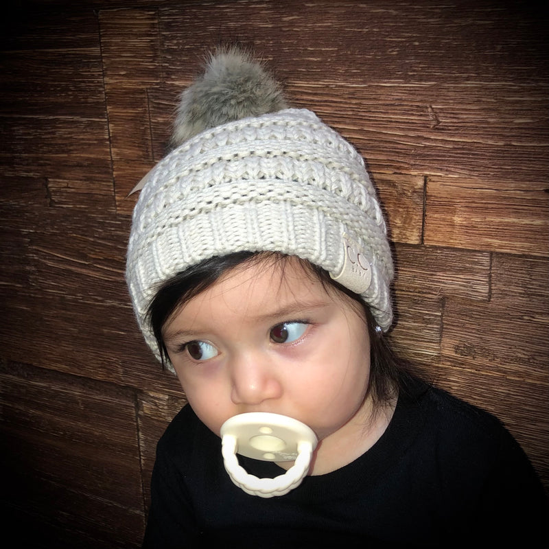 Baby C.C Beanie With Natural Fur Pom