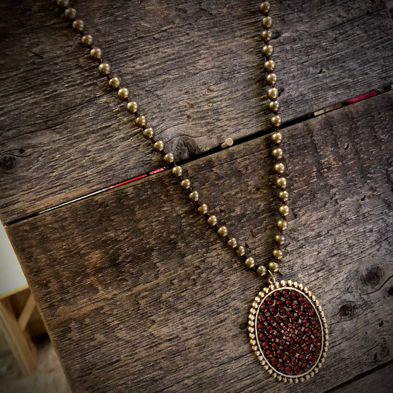 N-335BMA Large Oval With Maroon Crystal On Bronze Metal Beaded Necklace