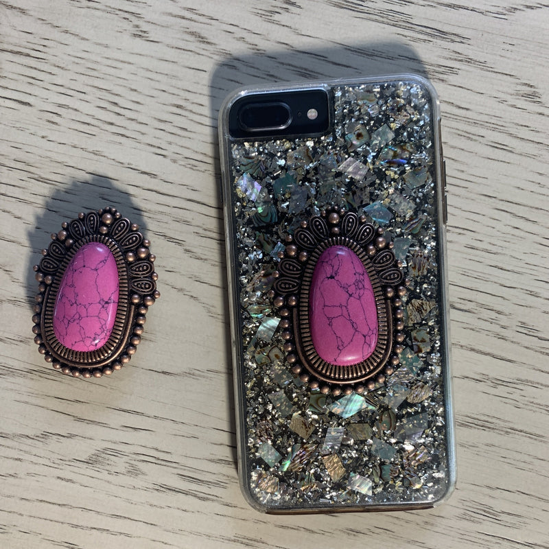 Large Pink Stone Pop Socket