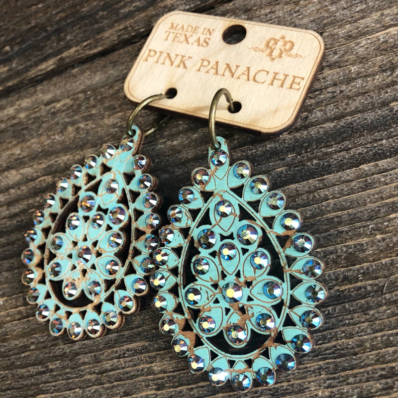 E-453TST Santa Fe Cracklewood Teardrop Earrings on Turquoise with ST Stones