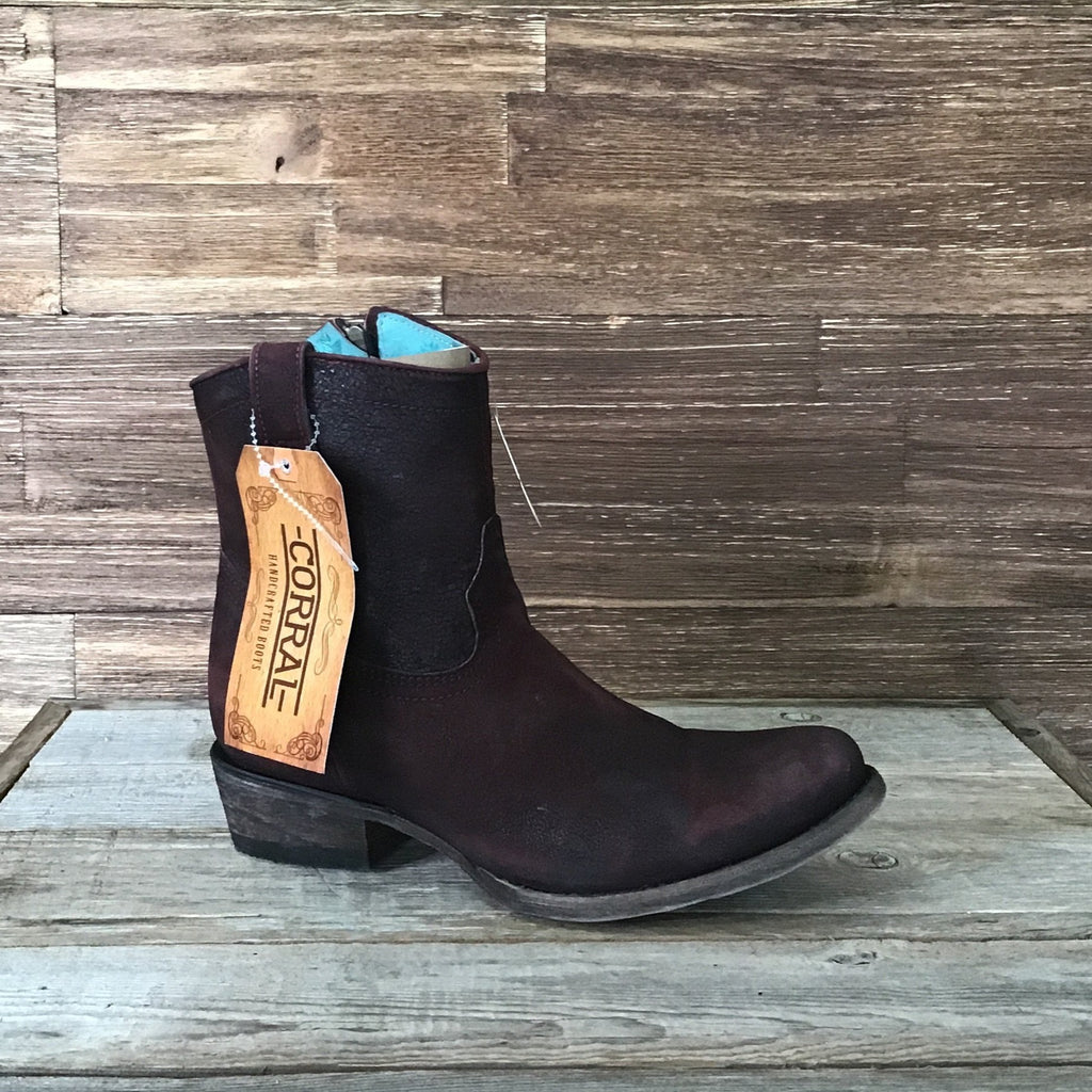 Wine Lamb Ankle Boot