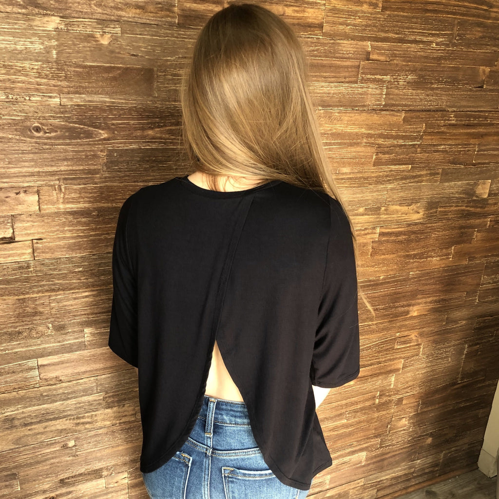 Split Back Top in Black