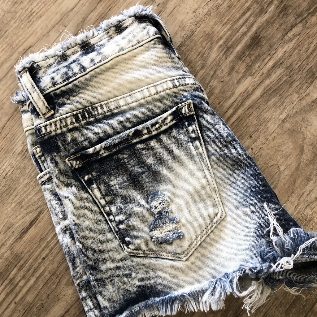 High Rise Frayed Waistband Shorts