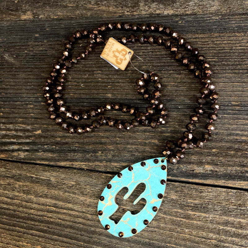 Turquoise Crackle Wood Cactus Necklace
