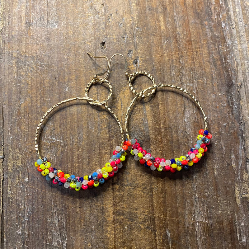 Double Ring Dangling Earring With Beads