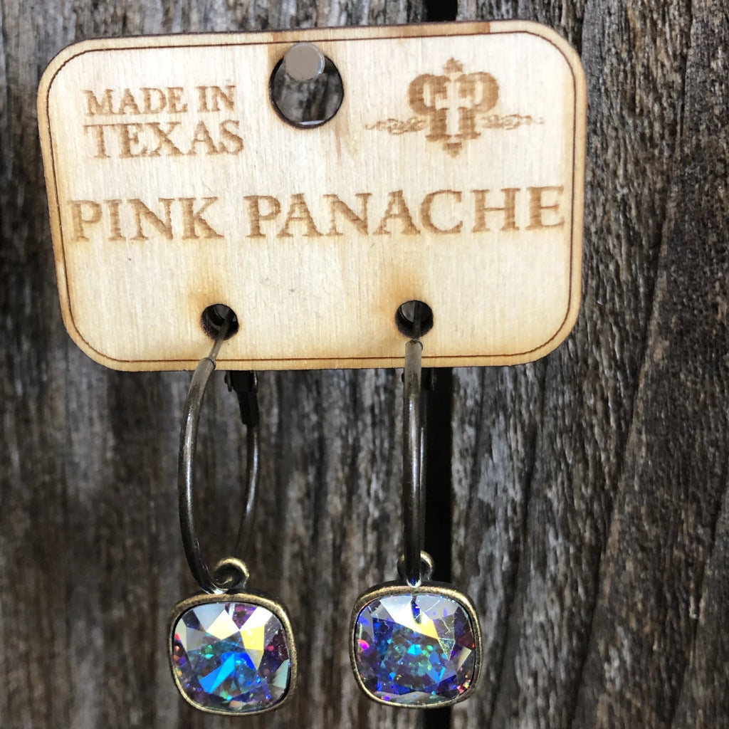 Pink Panache AB Cushion Cut Earrings