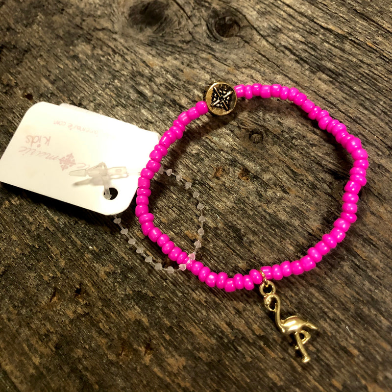 Pink Beaded Bracelet With Flamingo Charm 18-5