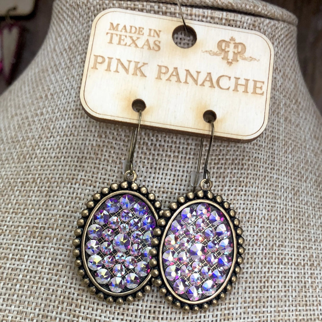 Pink Panache Medium Brass Ovals with AB Crystals
