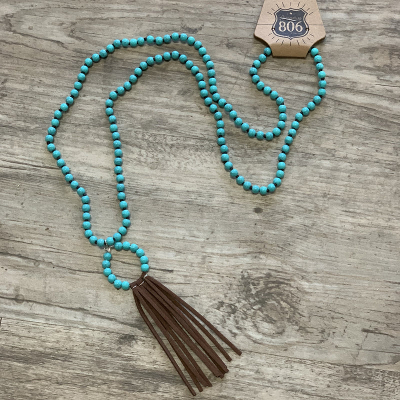 806-N15TB Turquoise Beaded Hoop with Brown Suede Fridge On Turquoise Beaded Necklace