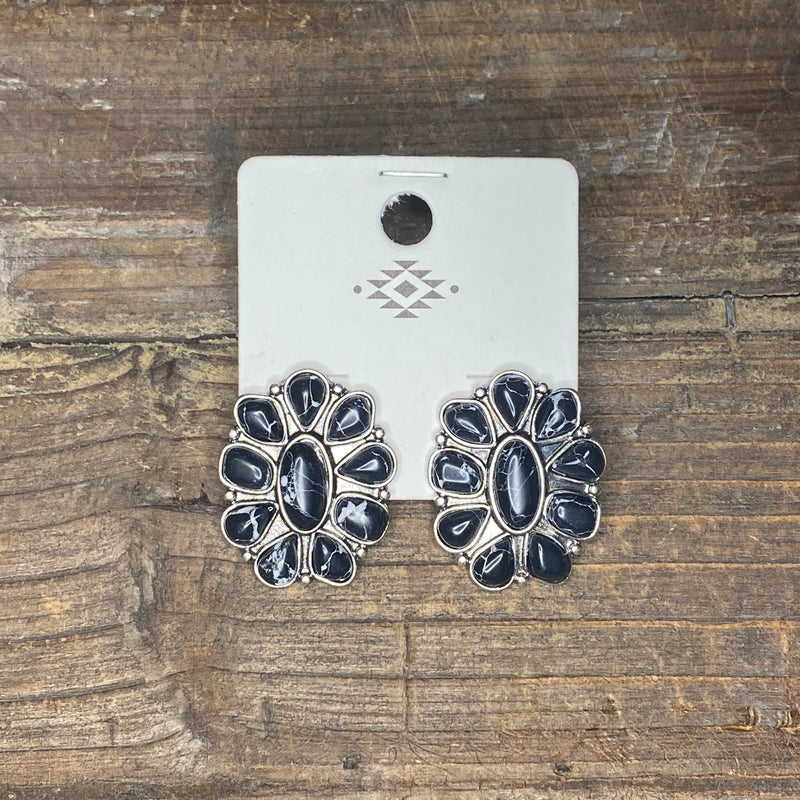 Cluster on Silver Post Earrings