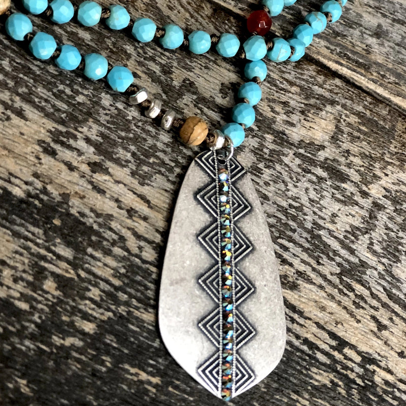 Silver Tribal Diamond Teardrop with ST Crystals
