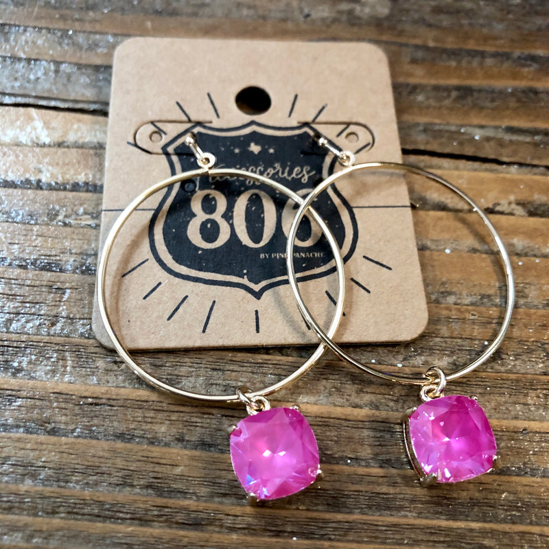 806-E03GP Gold Tone Hoop Earring Pink Square