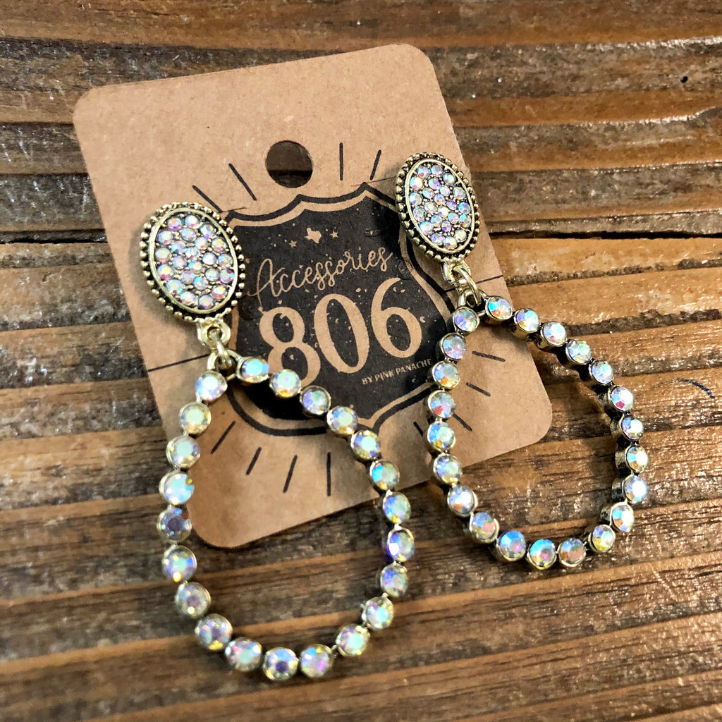 806-E08GAB Gold Teardrop with Ab Stones