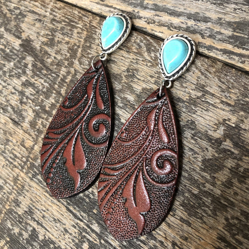 Tooled Leather Earring