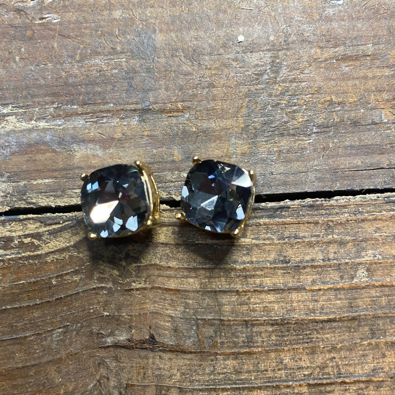Crystal Stud Square Earrings