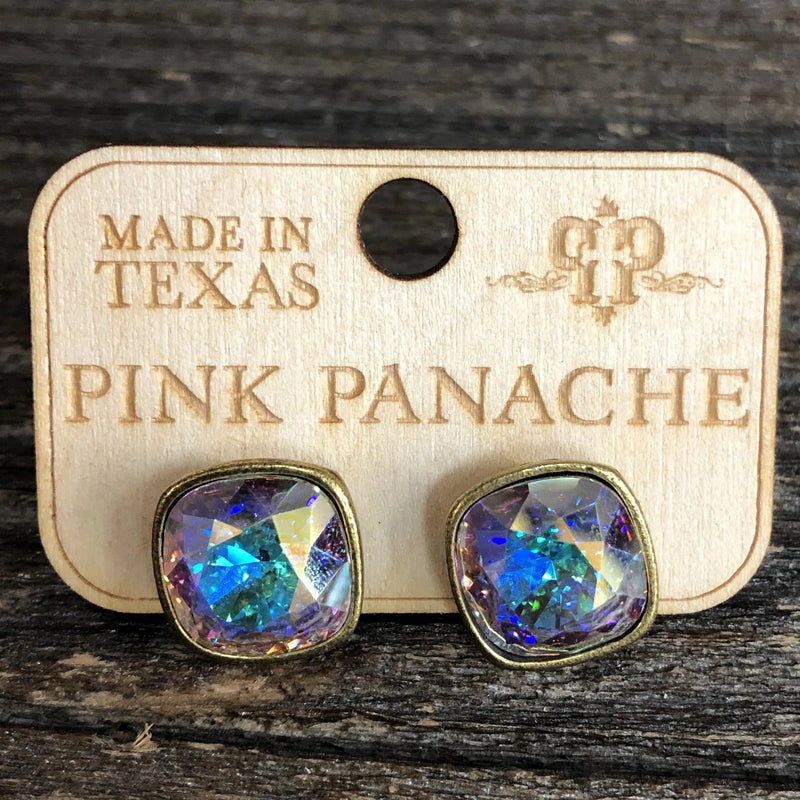 Pink Panache AB Brass Cushion Cut Studs