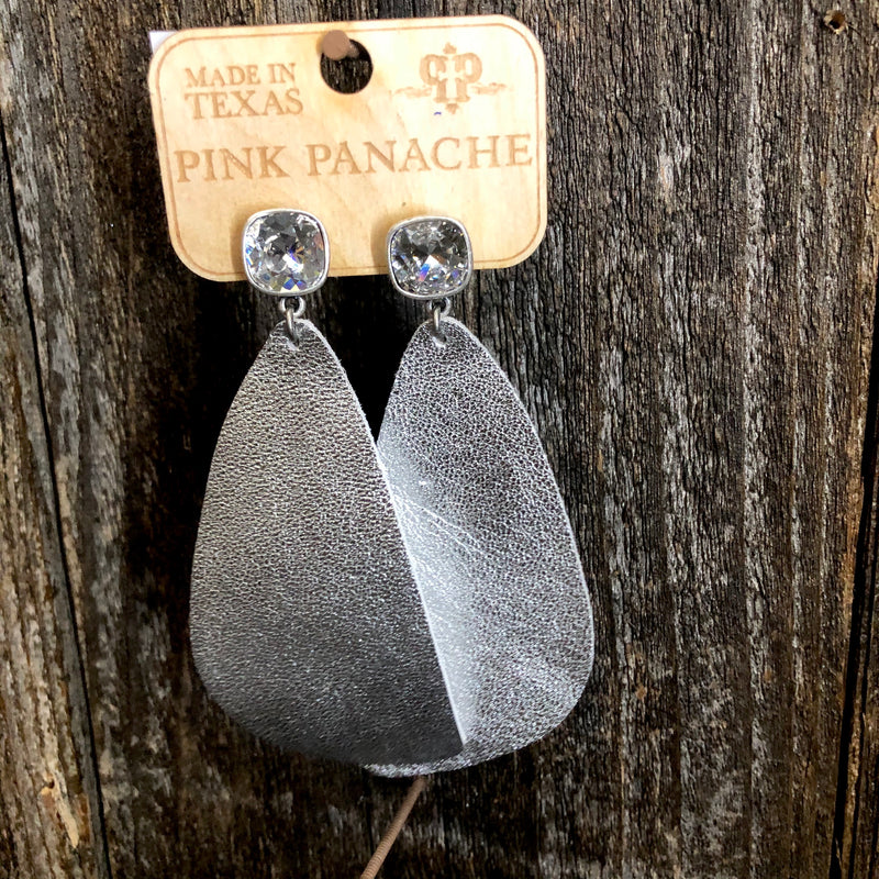 Clear Cushion Cut Silver Leather Earrings