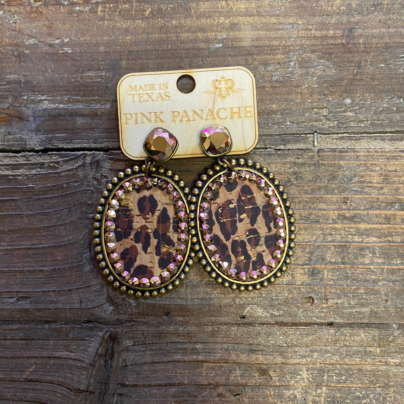 Rose Gold Cushion Cut Leopard with Large Oval earrings