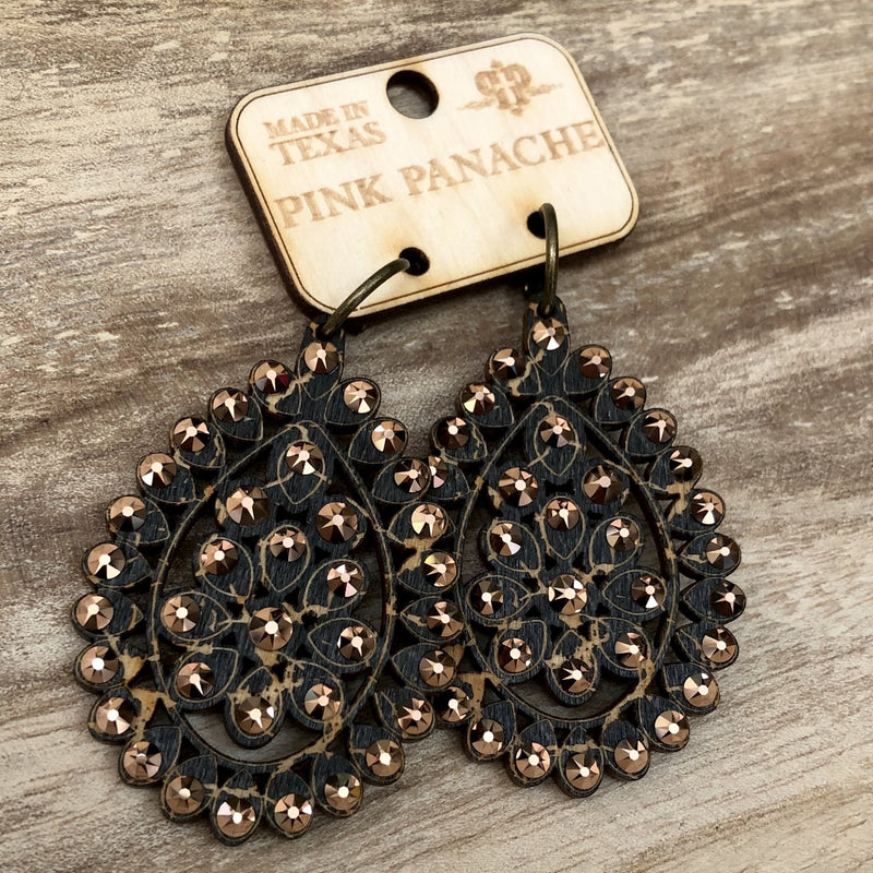 E-453BLRG Black Santa Fe Crackle Wood Earring with Rose Gold Crystals