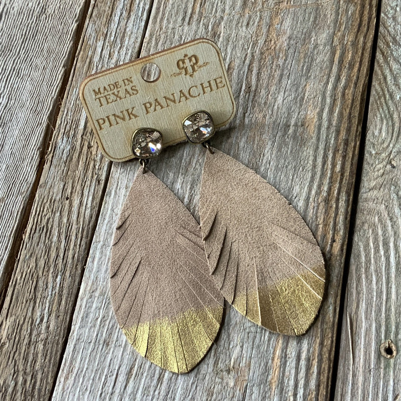 Beige Feather with Light Silk Stone Earrings