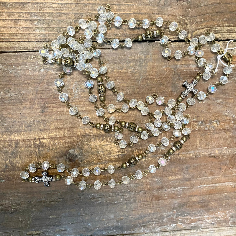 Crystal Beaded Necklace With Cross