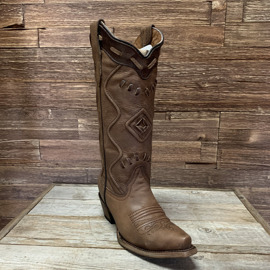 Brown Corded Snip Toe Boots
