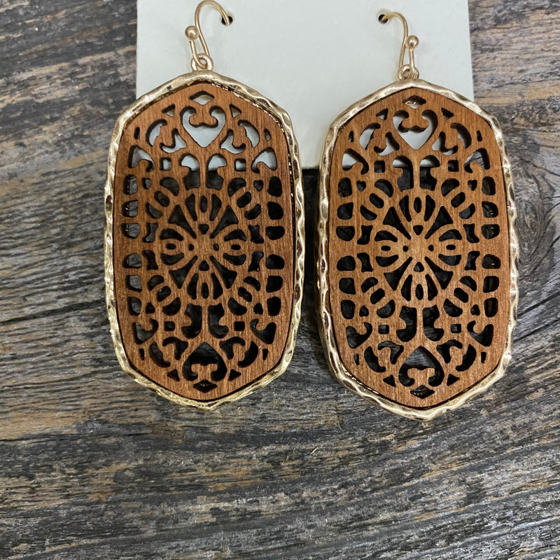Wooden Leigh Earrings Earrings