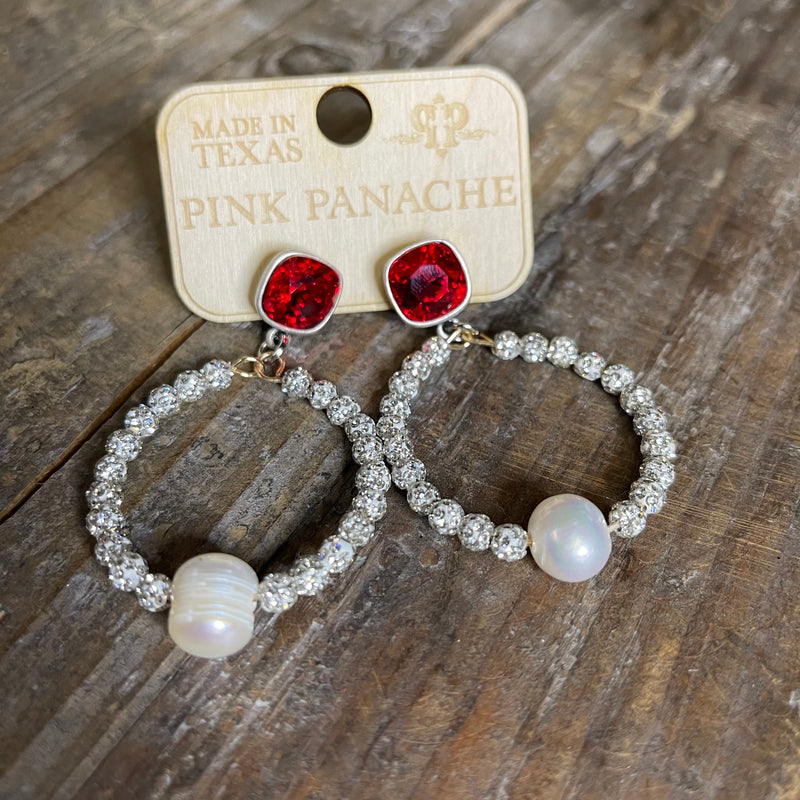 Circle Crystal Beaded Hoops with Pearl