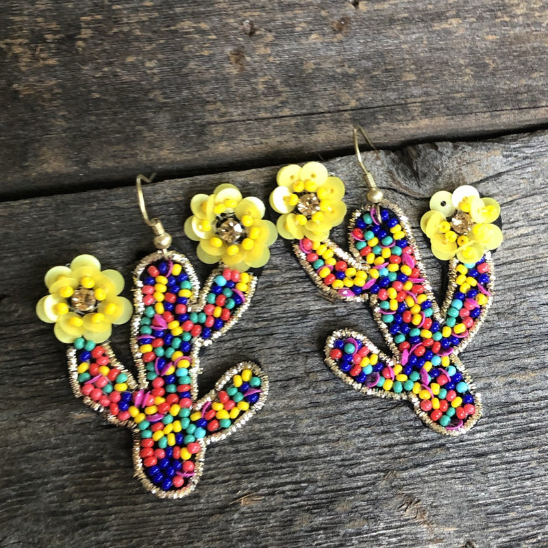 Beaded Cactus with Tiny Flowers