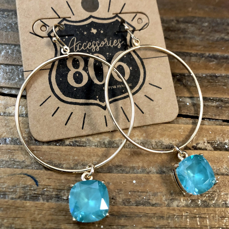 806-E03GB Gold Tone Blue Hoop Earrings