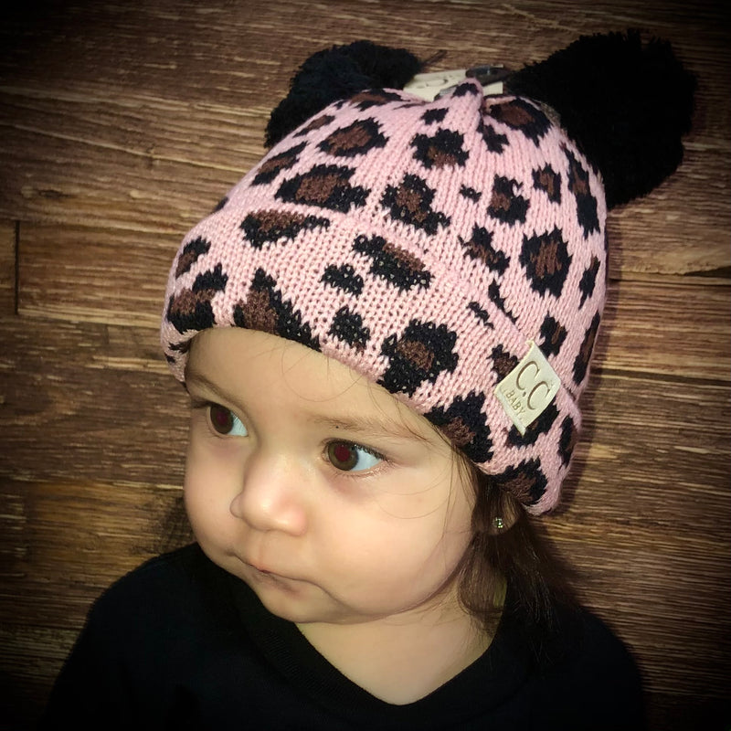 C.C Baby Leopard Beanie With Double Pom Pom
