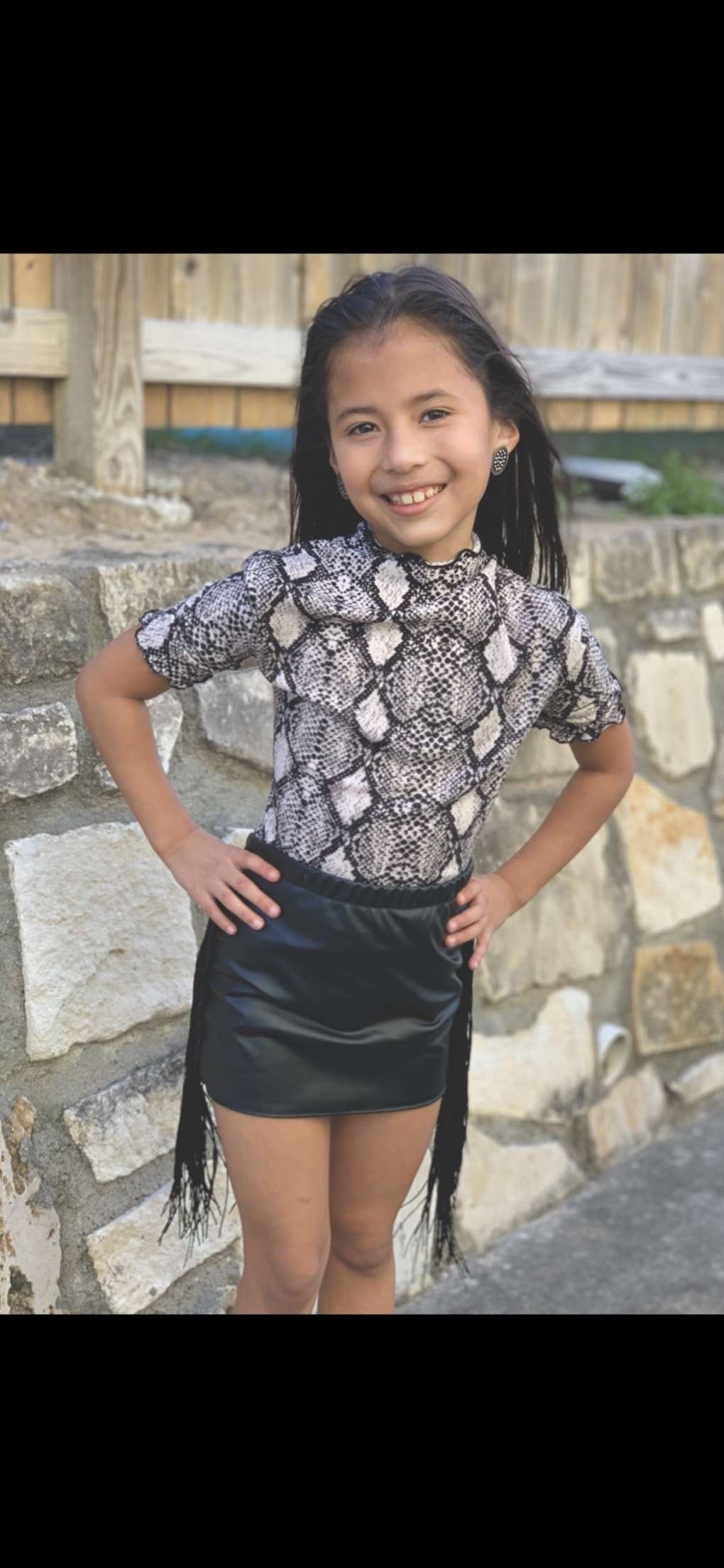 Black is Back Kids Leather Mini Skirt