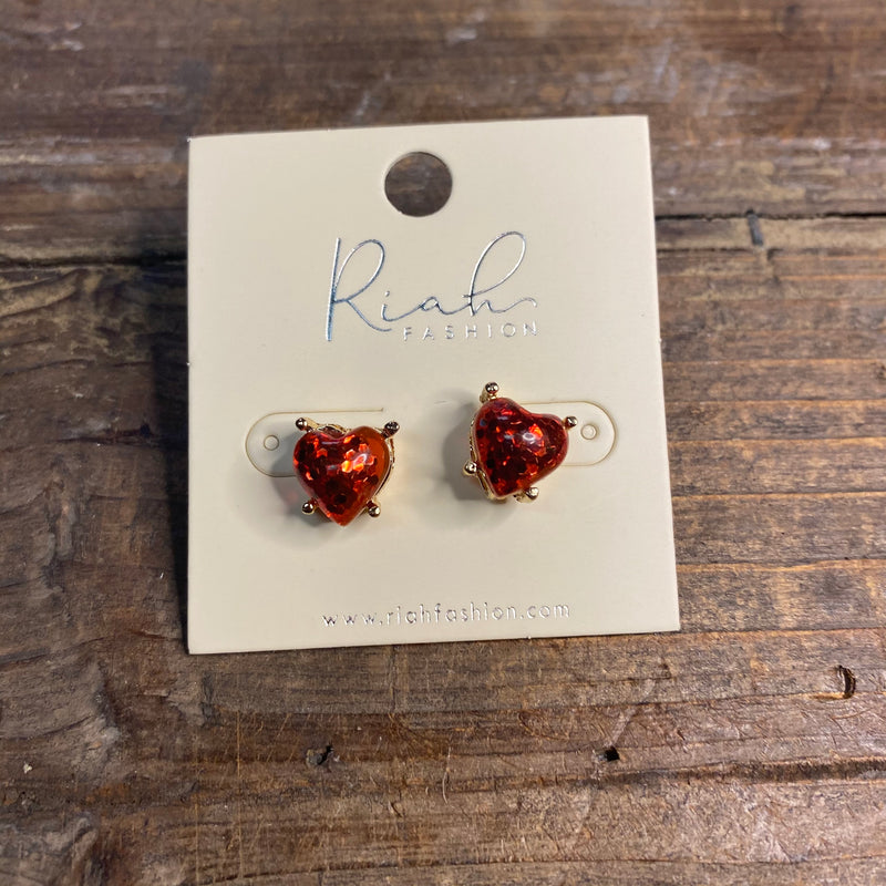 Small Glitter Heart Earrings