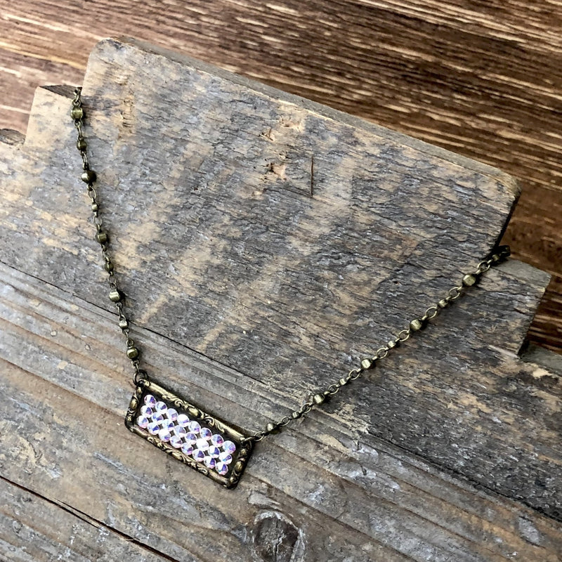 Sideways Rectangle with AB Crystal Necklace