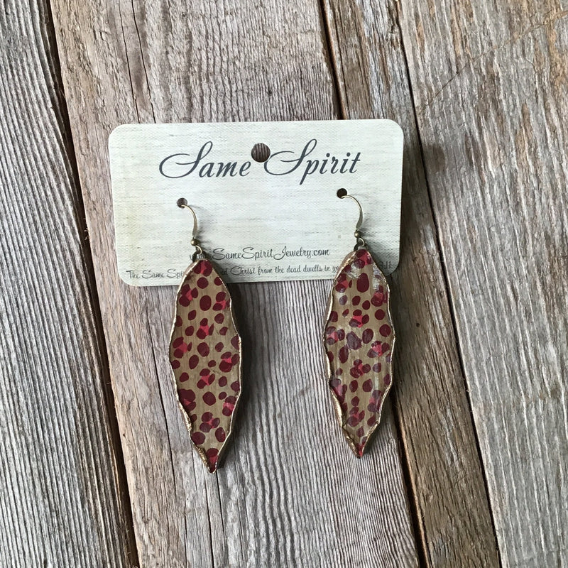 Red Cheetah Leaf with Gold Edges