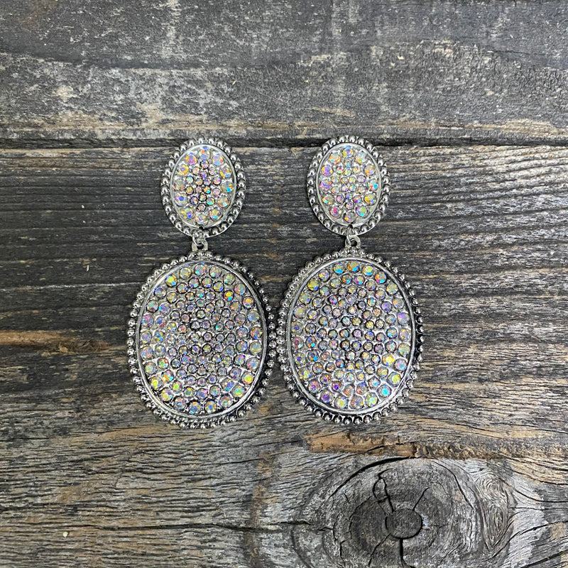Dangle Crystal Oval Earring on Stud