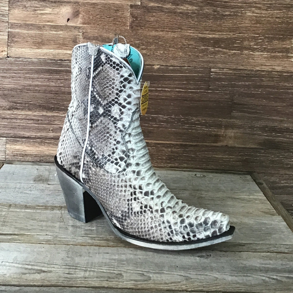 LD Natural Python Zipper Ankle Boot