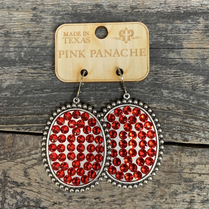 Red Silver Large Oval