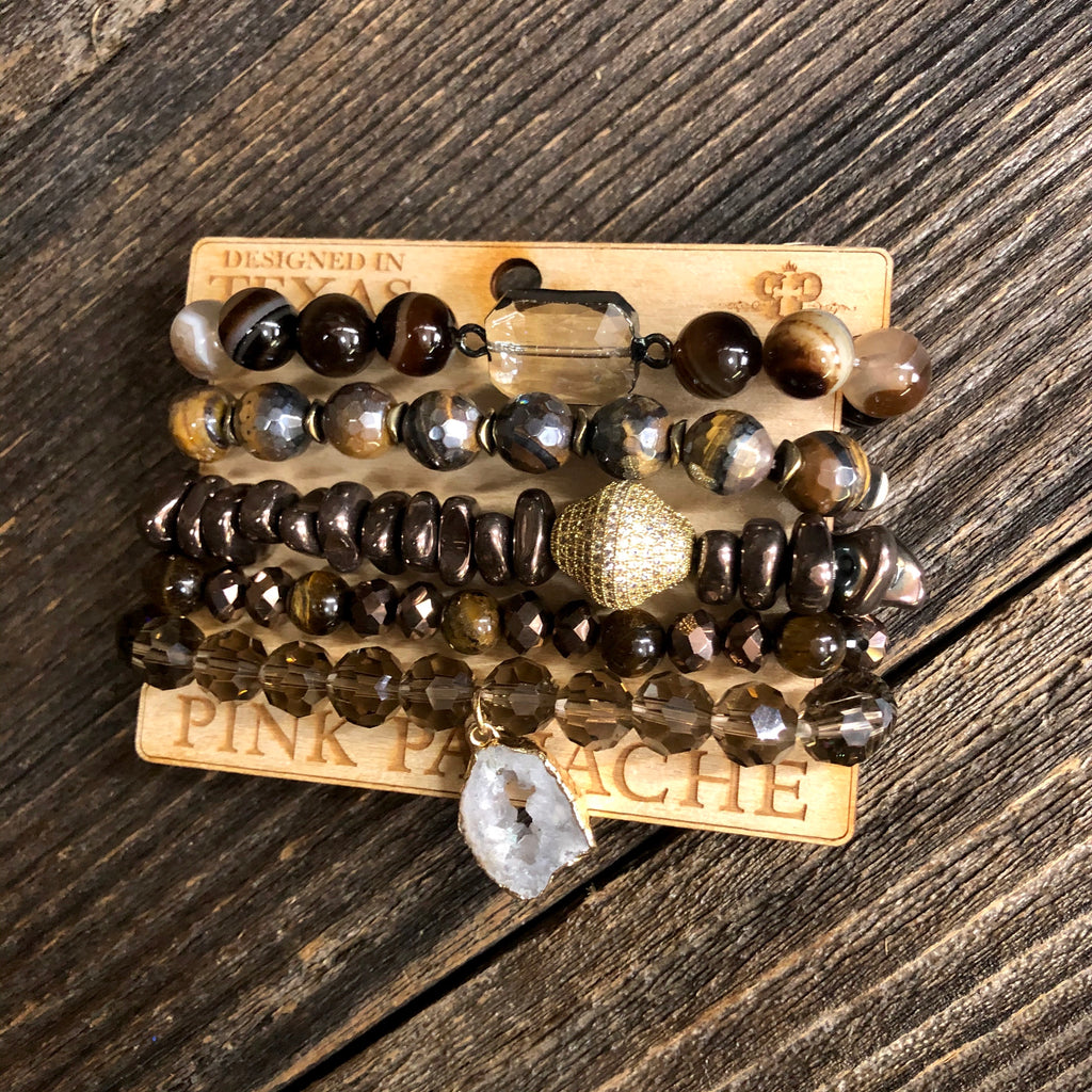 5 Strand Brown bracelet set