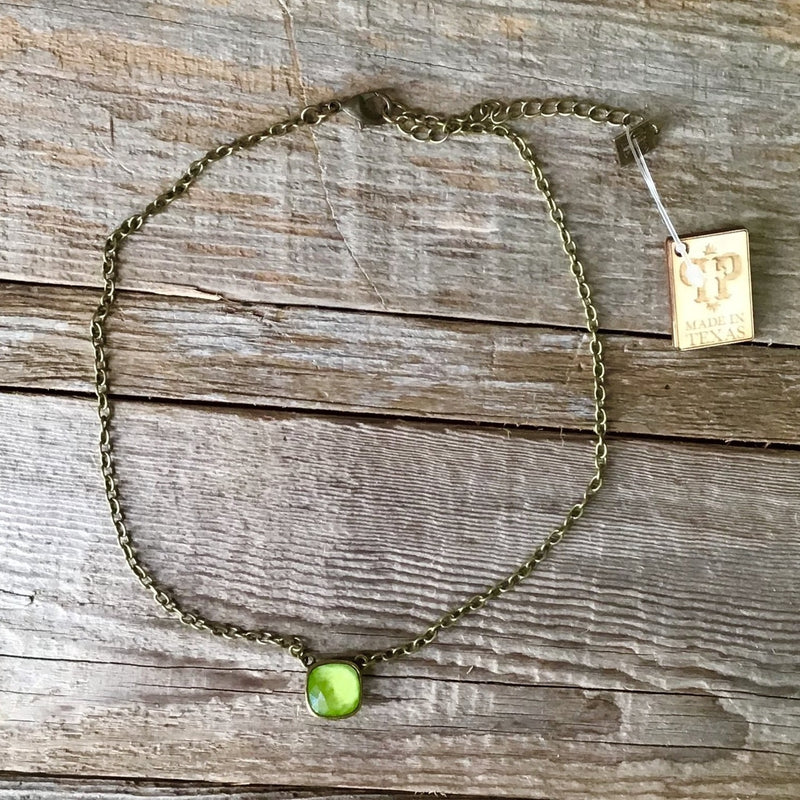 Lime Cushion Cut Necklace