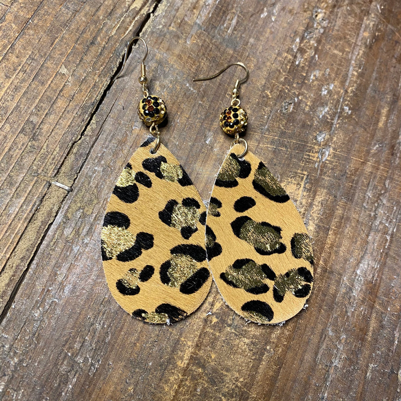 Crystal Leopard Beads With Hide earrings