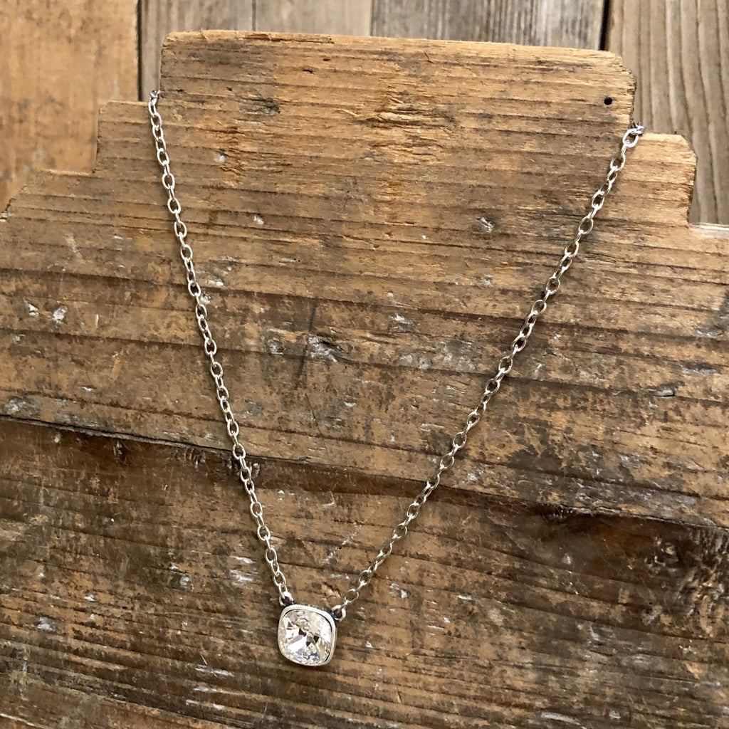 Clear Cushion Cut Silver Necklace