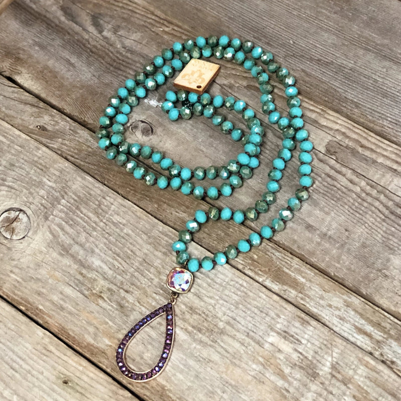 AB Open Teardrop Turquoise Beaded Necklace